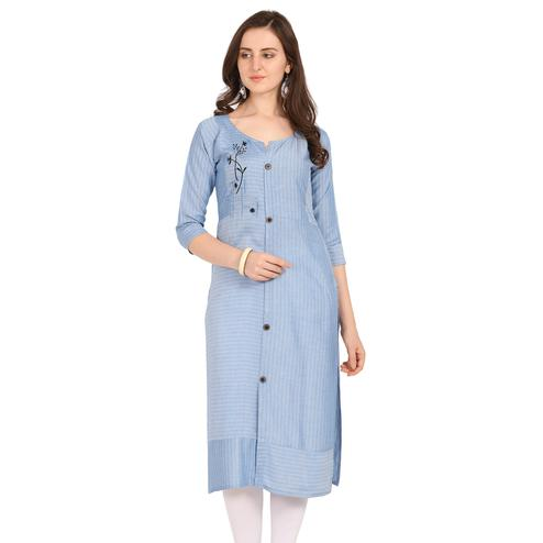 Elegant Blue Colored Party Wear Embellished Work Rayon Kurti
