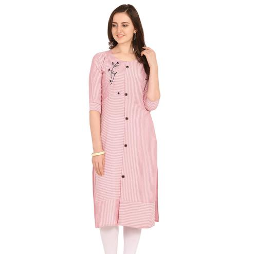 Radiant Pink Colored Party Wear Embellished Work Rayon Kurti