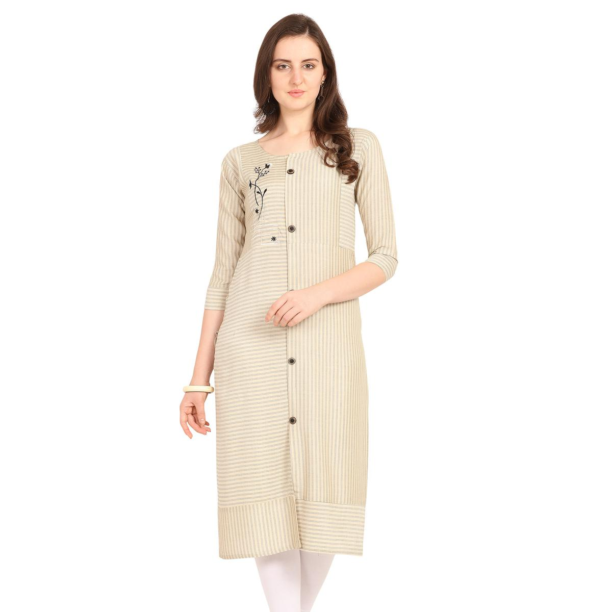 Pleasant Cream Colored Party Wear  Embroidered Work Rayon Kurti