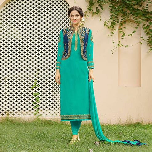 Beautiful Green Designer Embroidered Georgette Salwar Suit