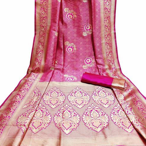 Opulent Pink Colored Festive Wear Woven Litchi Jacquard Silk Saree