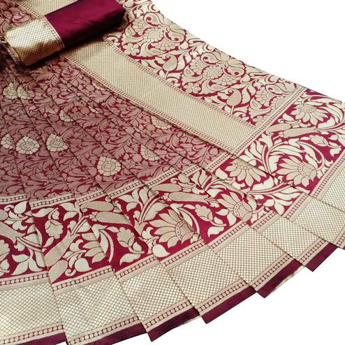 Glowing Maroon Colored Festive Wear Woven Litchi Jacquard Silk Saree