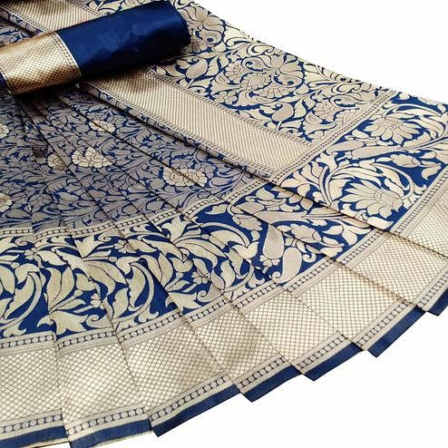 Exceptional Navy Blue Colored Festive Wear Woven Litchi Jacquard Silk Saree