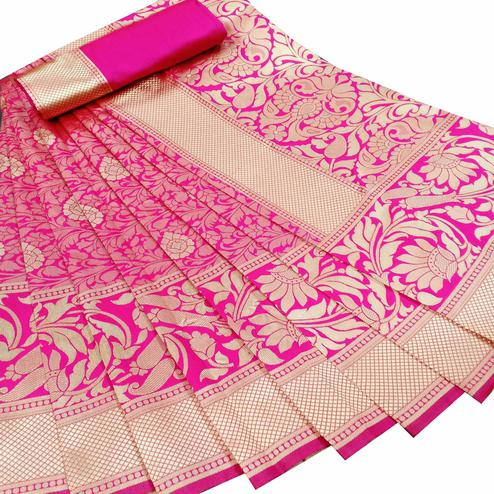 Gleaming Pink Colored Festive Wear Woven Litchi Jacquard Silk Saree