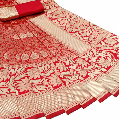 Mesmeric Red Colored Festive Wear Woven Litchi Jacquard Silk Saree