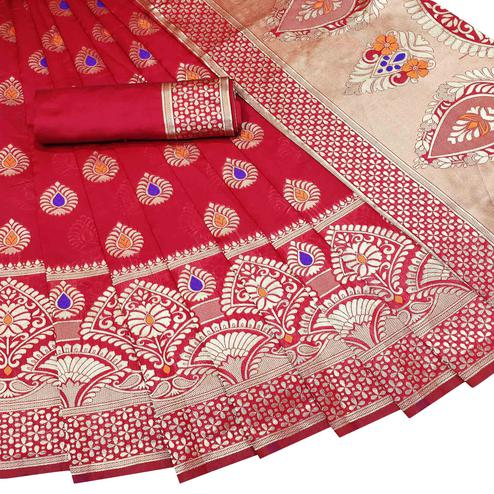 Refreshing Red Colored Festive Wear Woven Litchi Jacquard Silk Saree