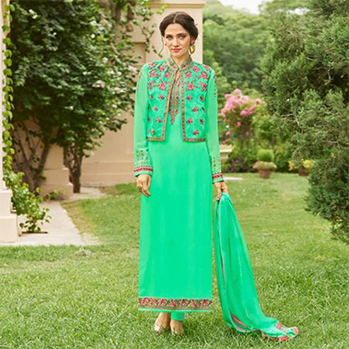 Gorgeous Green Designer Embroidered Georgette Salwar Suit