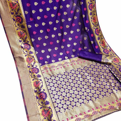 Excellent Purple Colored Festive Wear Woven Litchi Jacquard Silk Saree
