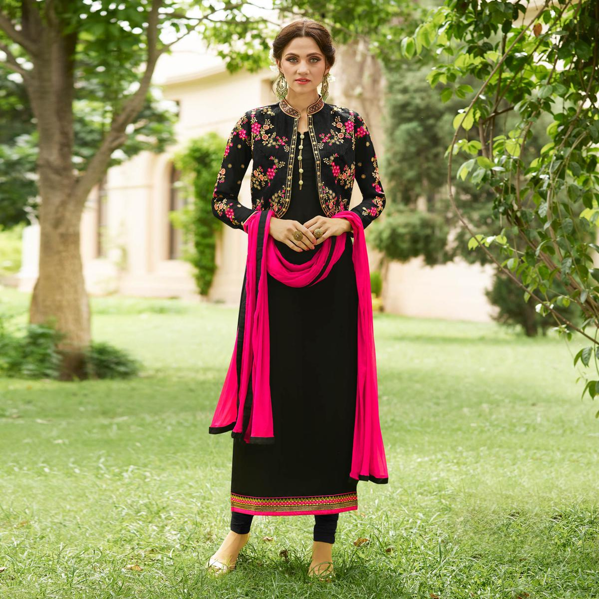 Adorable Black Designer Embroidered Georgette Salwar Suit
