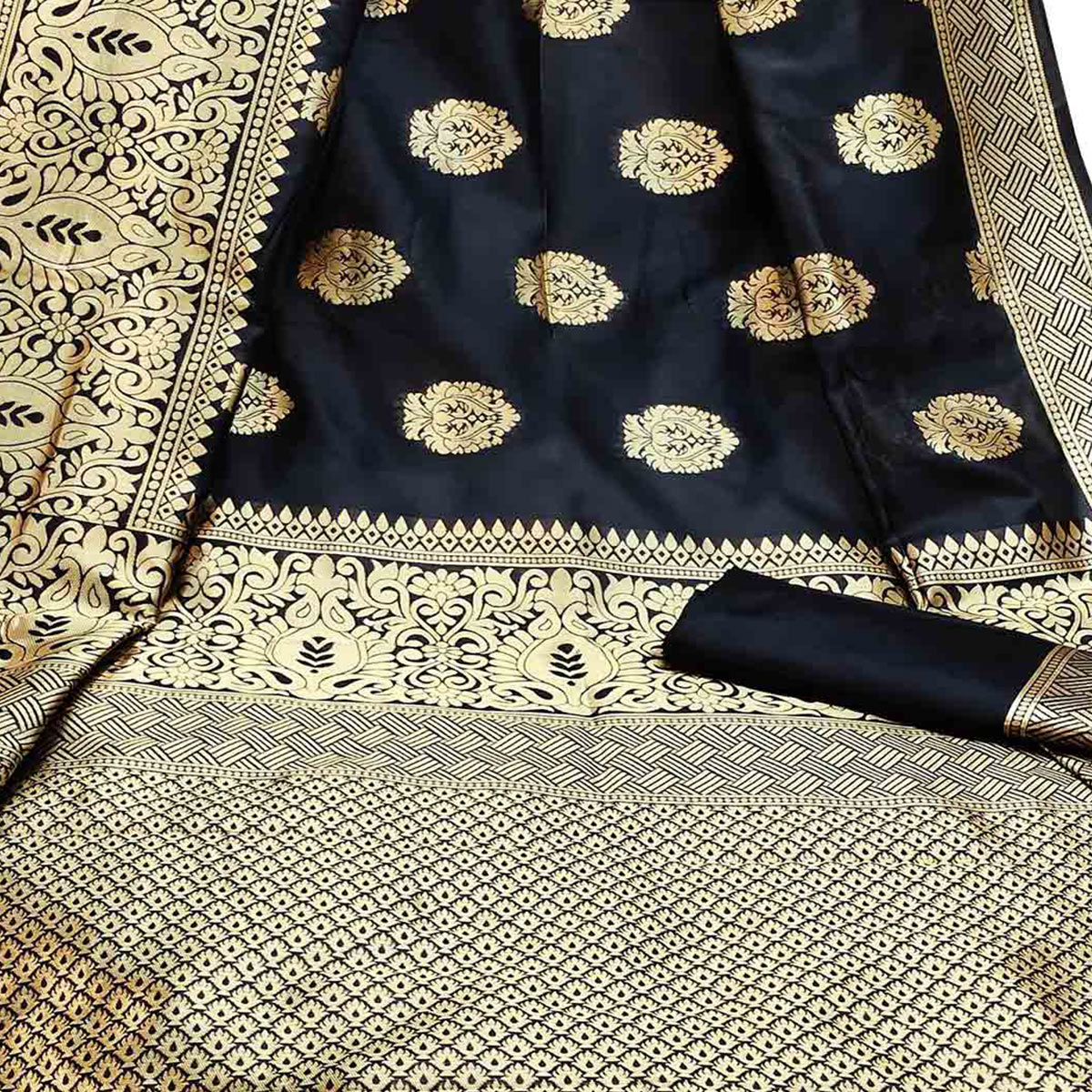 Stunning Black Colored Festive Wear Woven Litchi Jacquard Silk Saree