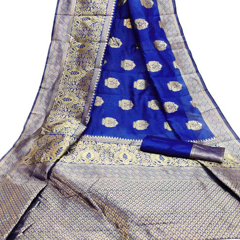 Flirty Blue Colored Festive Wear Woven Litchi Jacquard Silk Saree