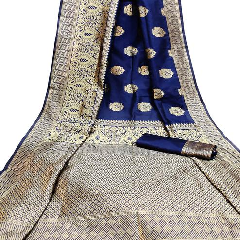 Prominent Navy Blue Colored Festive Wear Woven Litchi Jacquard Silk Saree