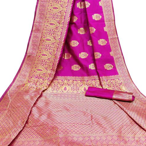 Capricious Rani Pink Colored Festive Wear Woven Litchi Jacquard Silk Saree