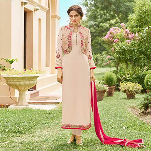 Regal Beige-Pink Designer Embroidered Georgette Salwar Suit