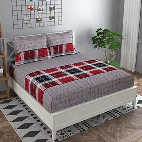 Adirav - Red-Grey Colored Geometric Printed Double Pure Cotton Bedsheet With 2 Pillow Cover