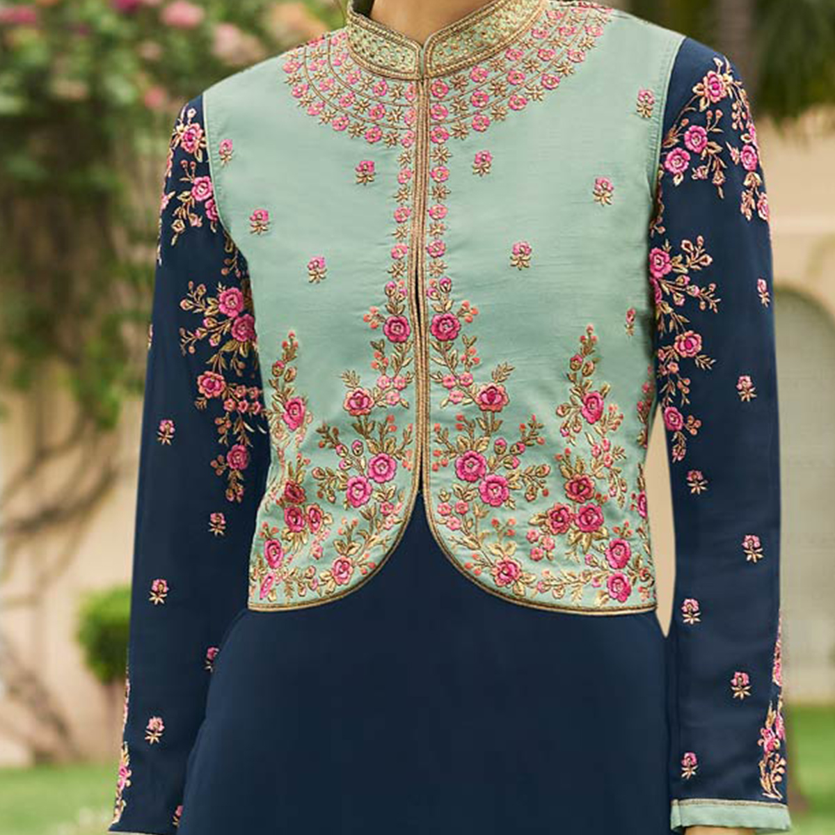 Appealing Navy Blue Designer Embroidered Georgette Salwar Suit