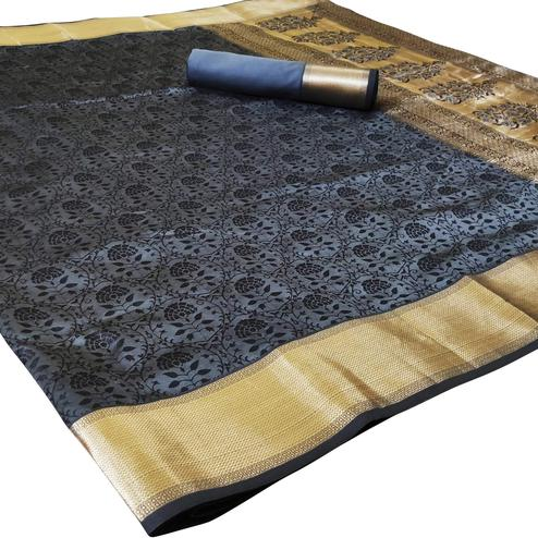 Charming Grey Colored Festive Wear Woven Heavy Silk Saree