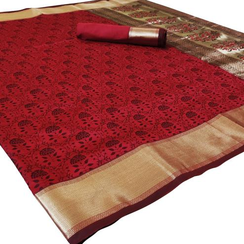 Jazzy Red Colored Festive Wear Woven Heavy Silk Saree