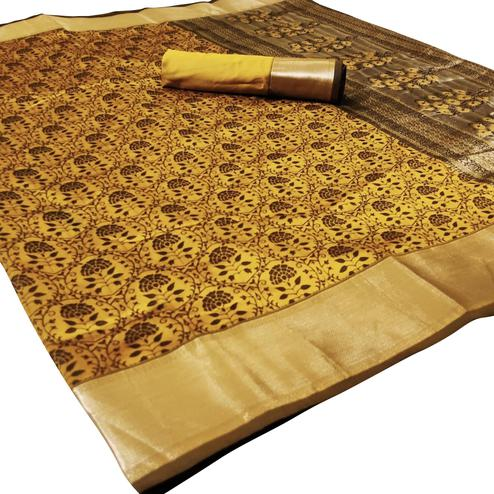 Engrossing Yellow Colored Festive Wear Woven Heavy Silk Saree