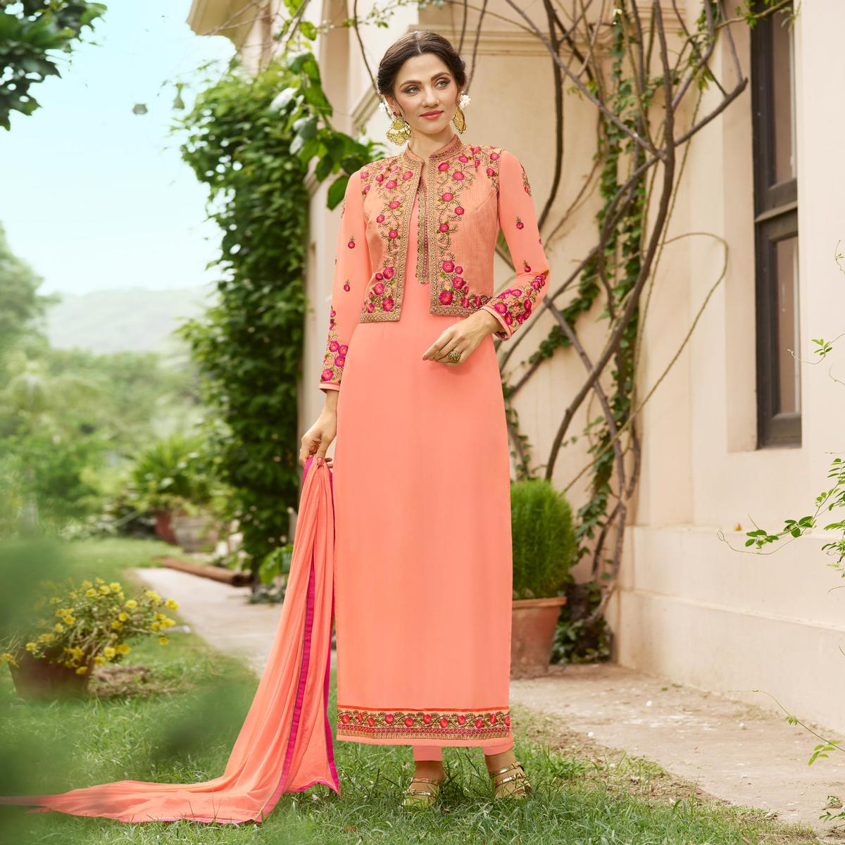 Elegant Peach Designer Embroidered Georgette Salwar Suit