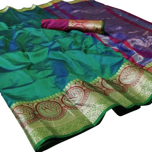 Imposing Green Colored Festive Wear Woven Silk Saree