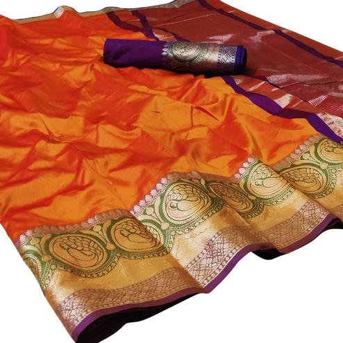 Majesty Orange Colored Festive Wear Woven Silk Saree