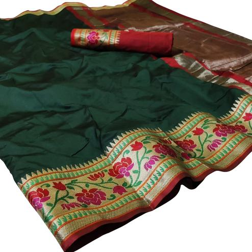 Impressive Dark Green Colored Festive Wear Woven Silk Saree