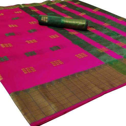 Arresting Dark Pink Colored Festive Wear Woven Linen Saree