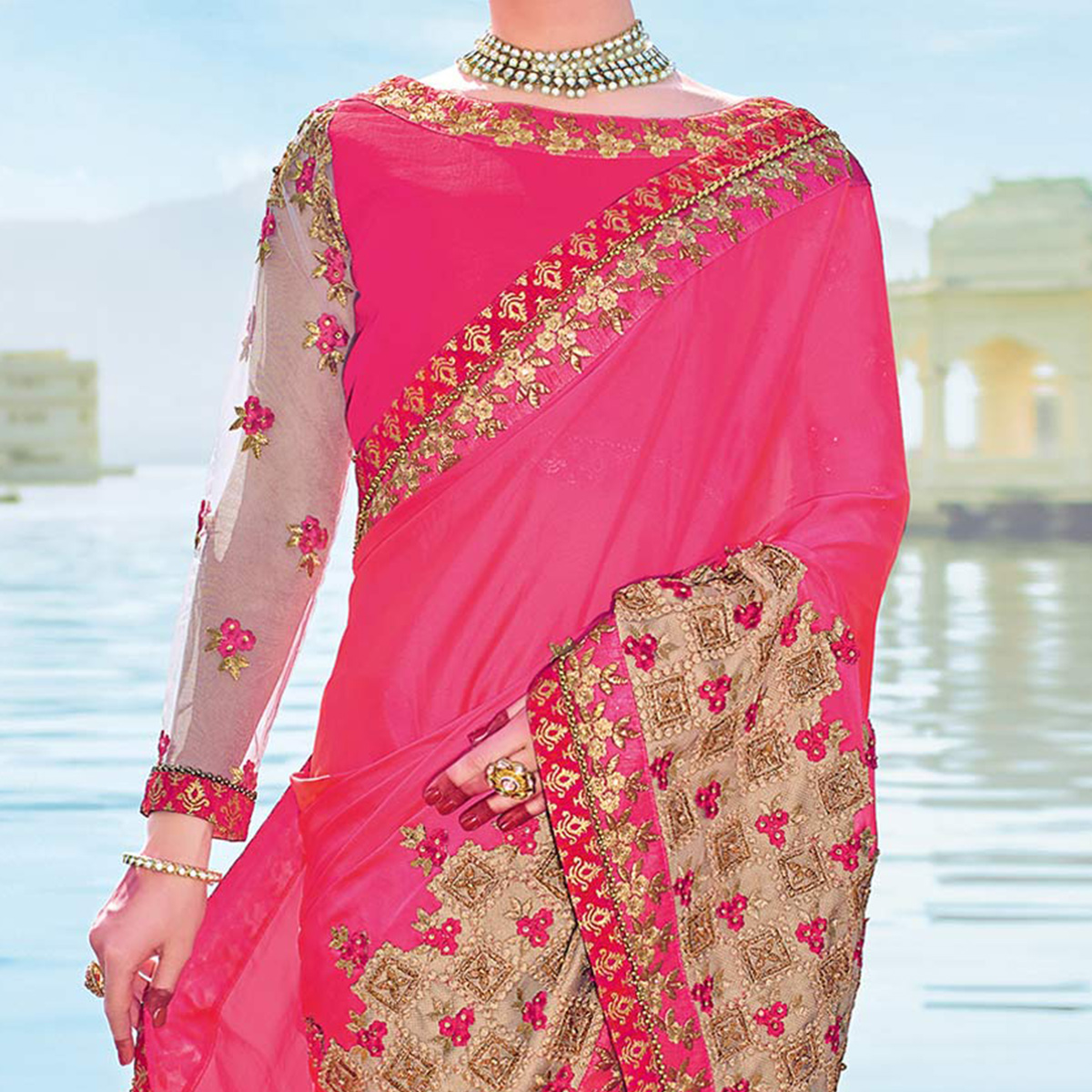 Marvellous Pink Colored Designer Embroidered Georgette Saree