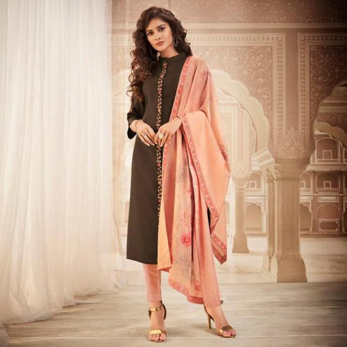 Exceptional Brown Colored Partywear Embroidered Heavy Muslin Salwar Suit