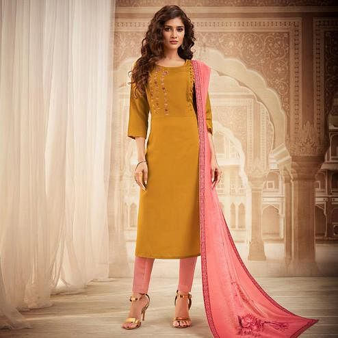 Gleaming Mustard Yellow Colored Partywear Embroidered Heavy Muslin Salwar Suit