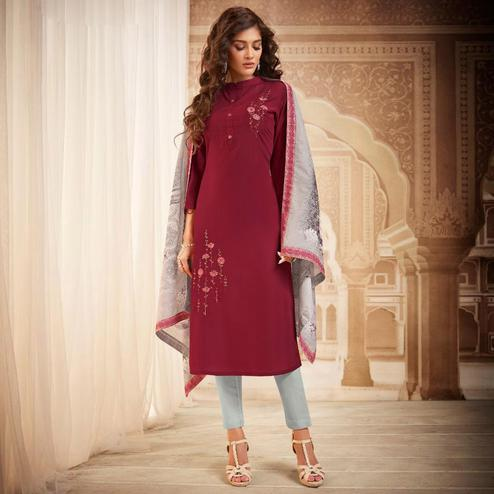 Mesmeric Maroon Colored Partywear Embroidered Heavy Muslin Salwar Suit