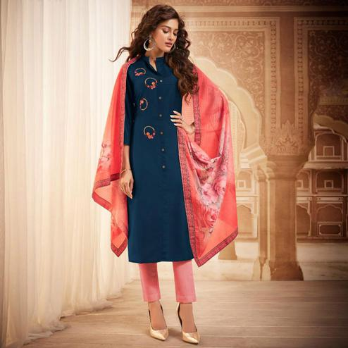 Refreshing Blue Colored Partywear Embroidered Heavy Muslin Salwar Suit