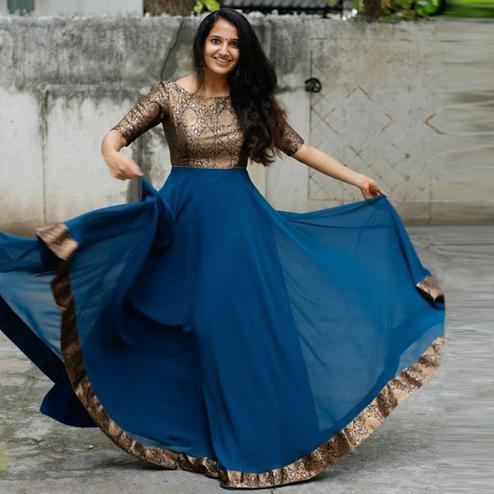 Adorable Teal Blue Colored Designer Partywear Jacquard georgette Gown