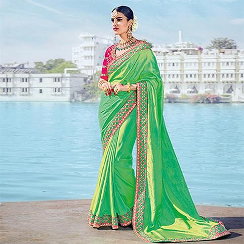 Gorgeous Green Designer Embroidered Two Tone Silk Fabrics Saree