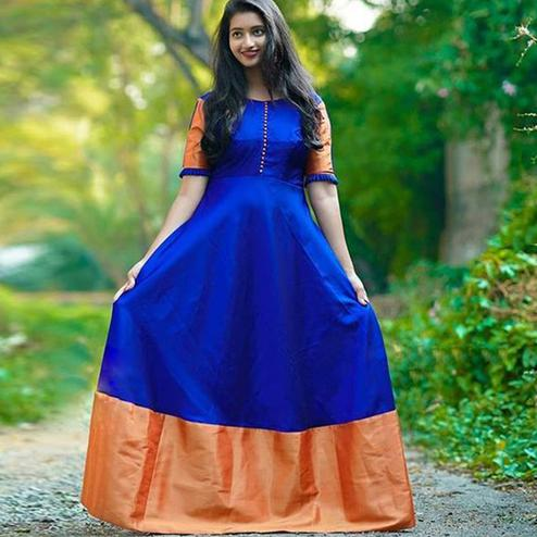 Graceful Royal Blue Colored Partywear Tapetta Silk Gown