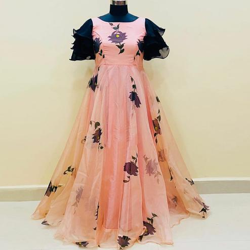 Blooming Peach Colored Partywear Digital Printed Organza Gown With Ruffel Sleeves
