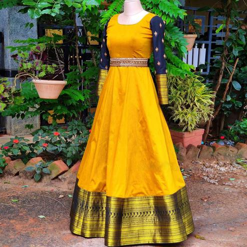 Captivating Mustard Yellow Colored Woven Fancy Cotton Gown