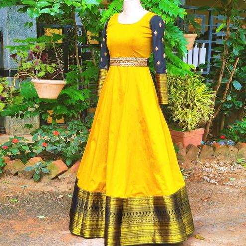 Captivating Yellow Colored Woven Fancy Cotton Gown