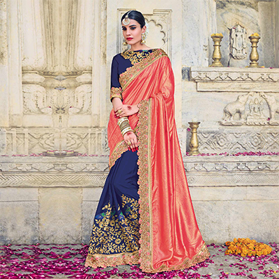 Flamboyant Orange And Navy Colored Designer Embroidered Two Tone Silk And Chinon Saree