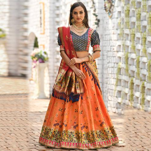 Radiant Orange - Multi Colored Designer Partywear Woven Banarasi Silk Lehenga Choli