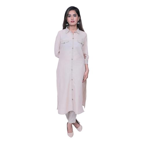 AVINDA - Cream Colored Casual Wear Solid Cotton Kurti-Pant Set