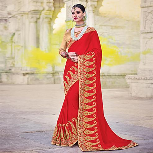 Hot Red Designer Embroidered Moss Chiffon Saree