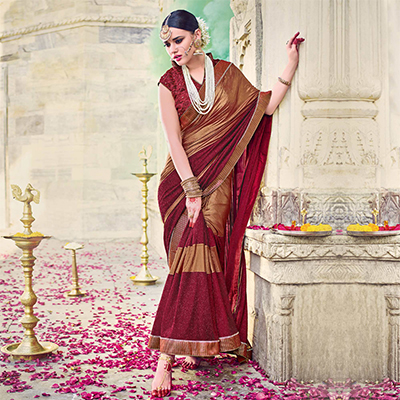 Beautiful Maroon And Gold Colored Designer Embroidered Lycra Saree