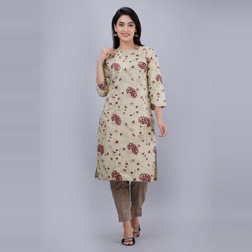 AVINDA - Beige Colored Casual Wear Floral Printed Cotton Kurti-Pant Set