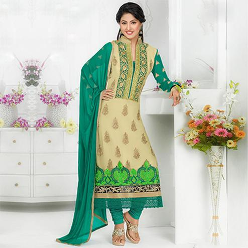 Beige - Green Party Wear Salwar Suit