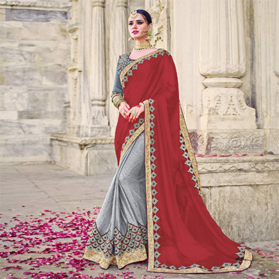 Charming Maroon And Grey Colored Designer Embroidered Georgette And Fancy Lycra Saree