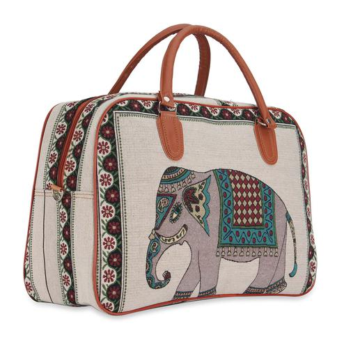 NFI Essentials - Retro Elephant Print Canvas Travellling Duffle Air Bag