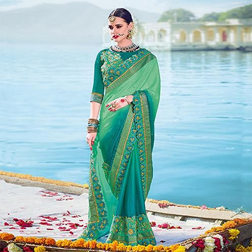 Graceful Green Designer Embroidered Georgette Saree