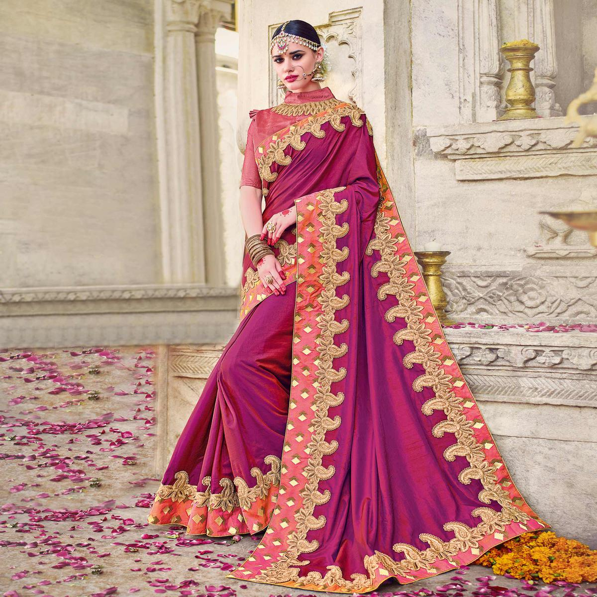 Mesmerising Pink Colored Designer Embroidered Two Tone Silk Saree